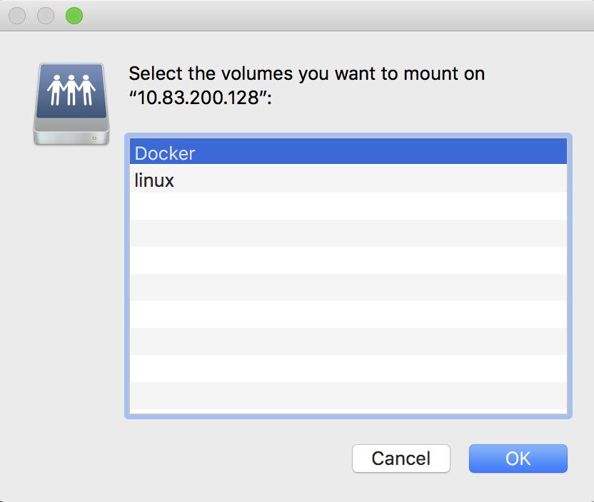 MacOS selecting SAMBA share