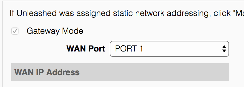 Gateway mode port settings