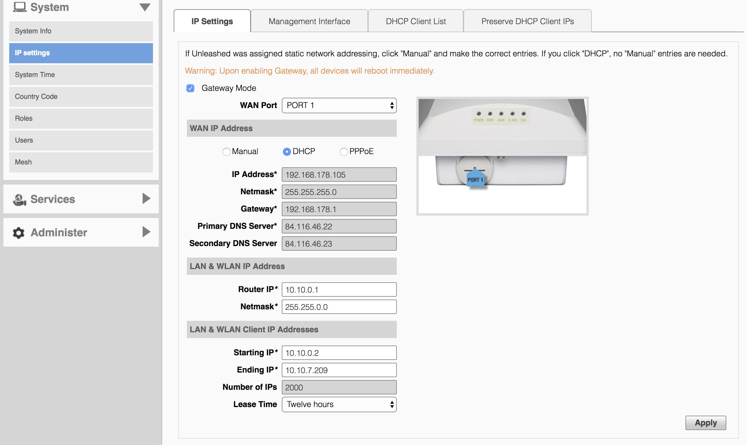 IP settings gateway mode